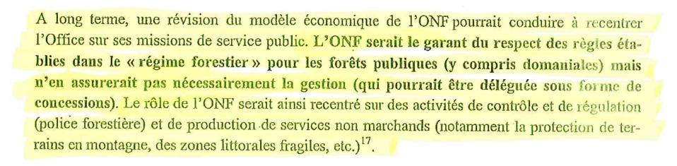 Forêts publiques : l'État réfléchit au démantèlement de l'ONF Extrait_2_note_ministere_de_l_economie