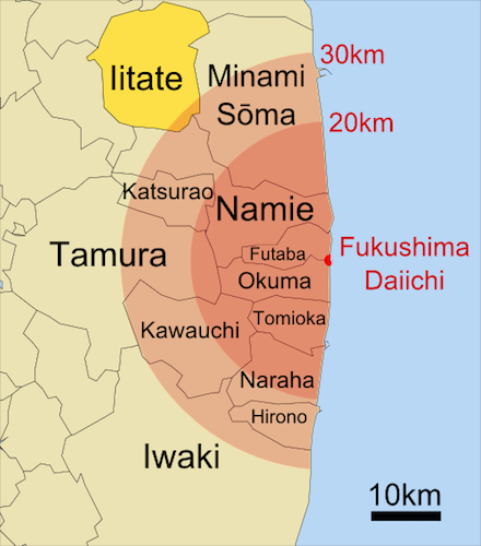 NUCLé-AIRE  ActuaSanté situation_d_iitate_par_rapport_a_la_centrale_de_fukushima_daiichi_et_aux_zones_d_exclusion_-_cre_dit_mayhew_wikipe_dia_