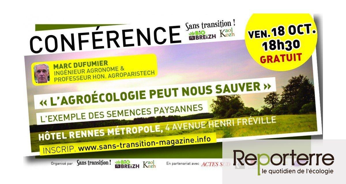 « L'agroécologie peut nous sauver ! », conférence de Marc Dufumier, à Rennes (Ille-et-Vilaine)