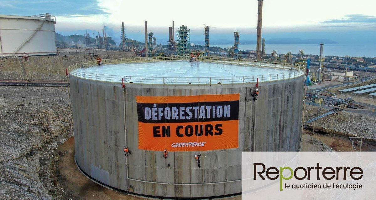 Greenpeace cible Total à La Mède contre l'importation d'huile de palme