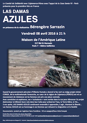 "Projection du film «<small class=""fine""> </small>Las Damas Azules<small class=""fine""> </small>» à Paris"