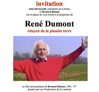 "Projection du documentaire «<small class=""fine d-inline""> </small>René Dumont, citoyen de la planète terre<small class=""fine d-inline""> </small>»"
