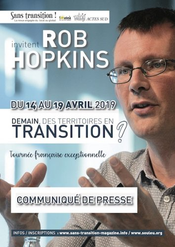 "Rob Hopkins : «<small class=""fine d-inline""> </small>Demain, des territoires en transition<small class=""fine d-inline""> </small>?<small class=""fine d-inline""> </small>», tournée en France"