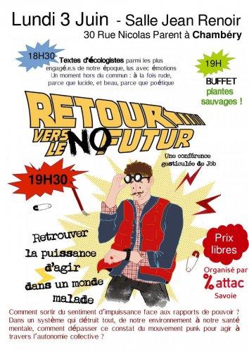 "Conférence gesticulée «<small class=""fine"" / /></small>Retour Vers Le No Futur<small class=""fine""></small>», à Chambéry (Savoie)"