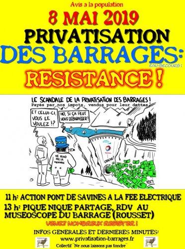 Mobilisation contre la privatisation du barrage de Serre Ponçon (Hautes-Alpes)