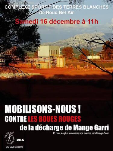 Mobilisation et marche contre les boues rouges, à Bouc-Bel-Air (Bouches-du-Rhône)