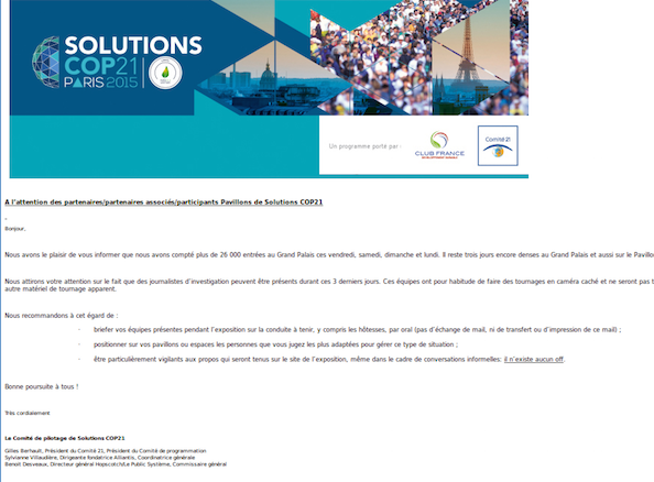 "A Solutions <span class=""caps"">COP21</span>, on se prémunit contre les «<small class=""fine""> </small>journalistes d'investigation<small class=""fine""> </small>»"