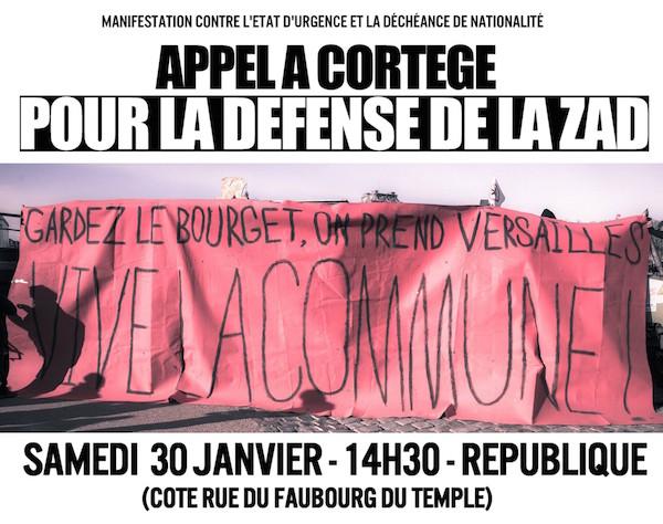 Manifestation pour défendre la Zad et contre l'état d'urgence, à Paris