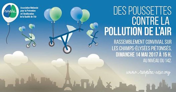 Des poussettes contre la pollution de l'air, rassemblement à Paris