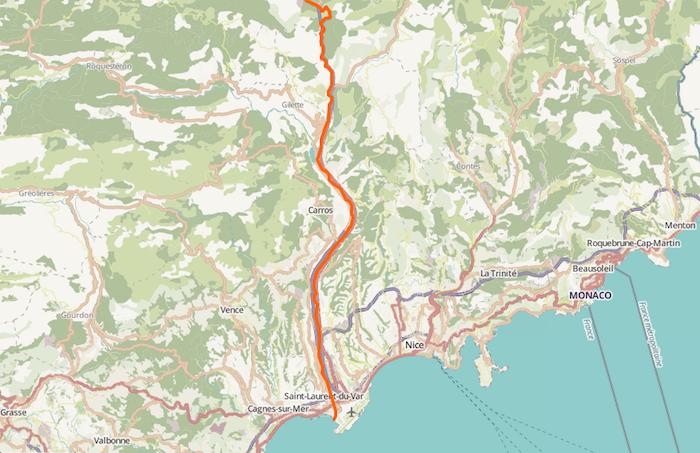 Le Var (en rouge), dans le département des Alpes-maritimes.