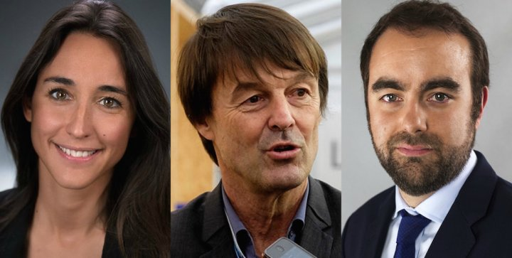 Hulot encadré par une cadre de Veolia et un politicien néo-libéral